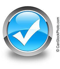 Validation icon glossy cyan blue round button
