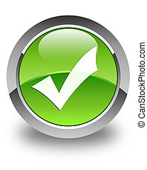 Validation icon glossy green round button
