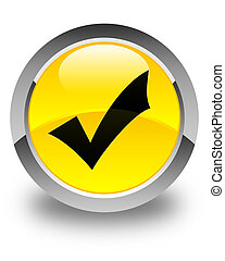 Validation icon glossy yellow round button