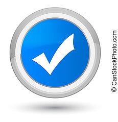 Validation icon prime cyan blue round button