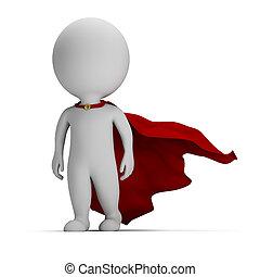 valiente, superhero, gente, -, pequeño, 3d