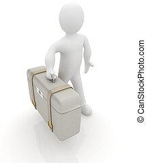 valigia cuoio, per, viaggiare, con, 3d, uomo