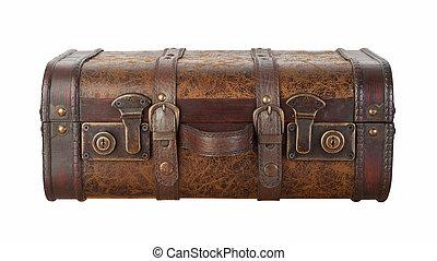 valigia, fermi, isolato, con, percorso tagliente