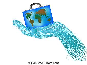 valigia, globo, vettore, illustrazione, mano