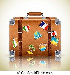 valigia, retro, icona