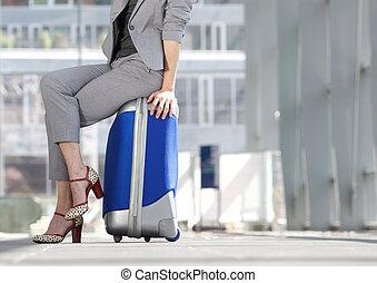valise, aéroport, affaires femme, séance