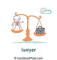 valise, avocat, balances