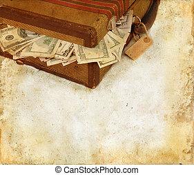 valise, bourré, à, argent, grunge, fond