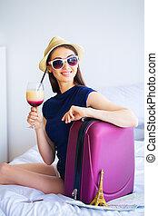 valise, cocktail, salle, lit, hootel, femme, beau