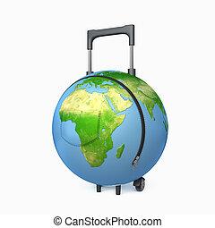 valise, dans, les, formulaire, de, a, globe