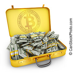 valise, dollars, bitcoin