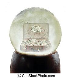 valise, entiers, de, argent, dans, a, snowglobe