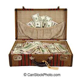 valise, entiers, de, argent