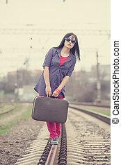 valise, girl, mode, jeune, railways.