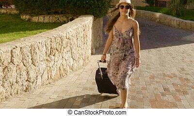 valise, girl, rue, jeune, voyager