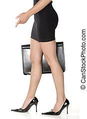 valise, jambes, long, sensuelles, dame a peau noire , business