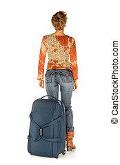 valise, loin, aller, femme