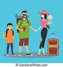 valise, touristes, sacs dos, famille caucasienne, dessin animé