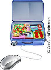 valise, vacances, souris, vacances, duper