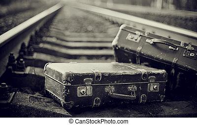 valises, couleur, rails., image, oublié, pas