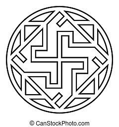valkiriya, slawisch, grobdarstellung, wohnung, ikone, vektor, bild, abbildung, stil, zeichen, valkyrie, symbol, farbe, varangian, schwarz