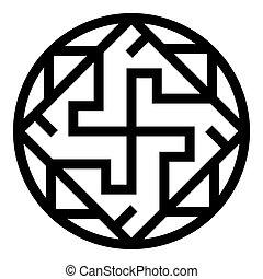 valkiriya, slawisch, ikone, wohnung, vektor, bild, abbildung, stil, zeichen, valkyrie, symbol, farbe, varangian, schwarz