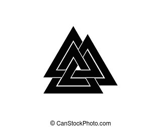Valknut is a symbol of the world's end of the tree Yggdrasil. Sign of the god Odin. Norse culture. Triangle logo. Vector illustration