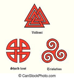 Valknut, shield knot and triskelion - Vector symbol set...