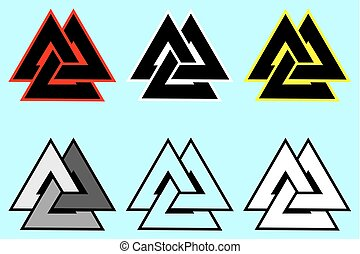 Valknut  symbol, Triangle logo, Viking Age symbol, Color set