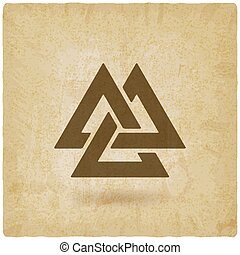 valknut symbol. interlocked triangles old background. vector...