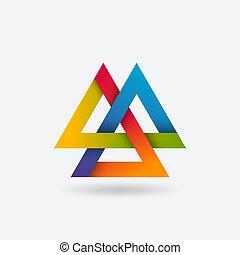 Valknut symbol of three interlocked triangles in rainbow ...