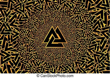 Valknut vector pattern, Valknut golden on a black background