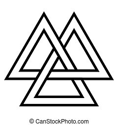 Valknut Viking Age symbol, geometric design element Norse...