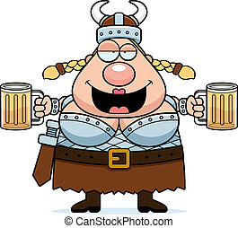 A happy cartoon Viking Valkyrie drunk and smiling.