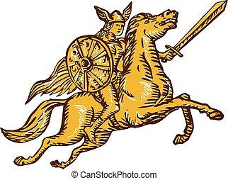 valkyrie, reiten, radierung, schwert, krieger, pferd