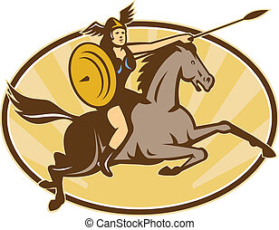 valkyrie-riding-horse-side-right, iso-oval