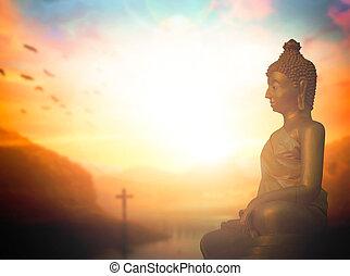 vallás, concept:, buddha, szobor, és, kereszt, képben látható, napnyugta, háttér