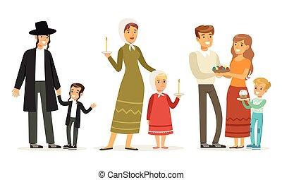 vallás, gyűjtés, gyerekek, szülők, különböző, ábra, öltözék, vektor, hagyományos, család