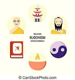 vallás, ikonok, állhatatos, vektor