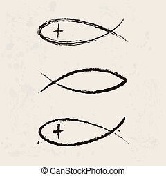vallás, jelkép, keresztény, fish