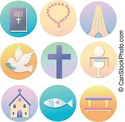vallás, keresztény, ábra, ikonok