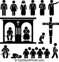 vallás, keresztény, tradíció, templom