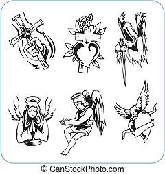 vallás, keresztény, vektor, -, illustration.