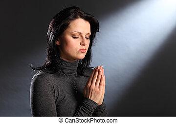 vallás, pillanat, szem sűrű, kisasszony, alatt, könyörgés