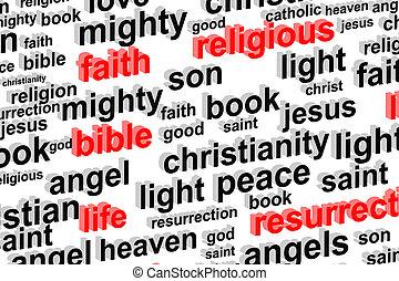 vallás, szó, felhő