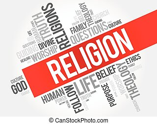 vallás, szó, felhő, kollázs