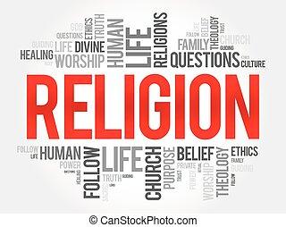 vallás, szó, felhő, kollázs, társadalmi, fogalom, háttér