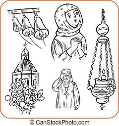 vallás, vektor, -, illustration., ortodox