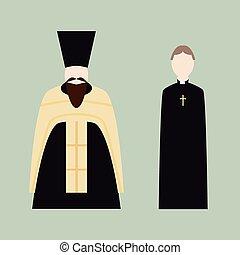vallásos, áldozópapok, keresztény, ikonok
