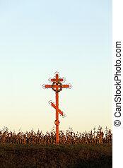 vallásos, fából való, kereszt